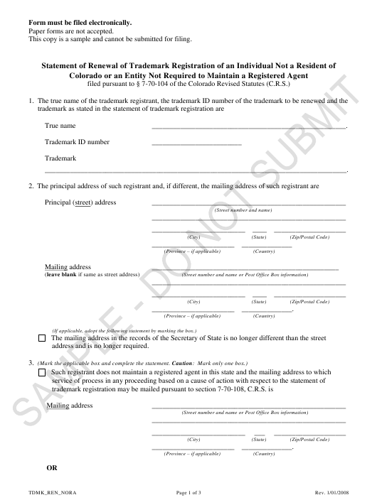 """Statement of Renewal of Trademark Registration of an Individual Not a Resident of Colorado or an Entity Not Required to Maintain a Registered Agent - Sample"" - Colorado Download Pdf"