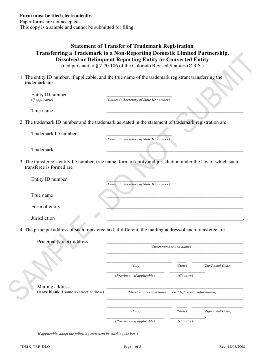 """Statement of Transfer of Trademark Registration Transferring a Trademark to a Non-reporting Domestic Limited Partnership, Dissolved or Delinquent Reporting Entity or Converted Entity - Sample"" - Colorado Download Pdf"