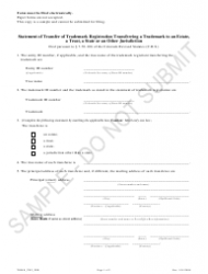 """""""Statement of Transfer of Trademark Registration Transferring a Trademark to an Estate, a Trust, a State or an Other Jurisdiction - Sample"""" - Colorado"""