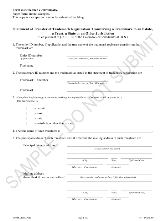 """Statement of Transfer of Trademark Registration Transferring a Trademark to an Estate, a Trust, a State or an Other Jurisdiction - Sample"" - Colorado Download Pdf"