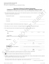 """Statement of Change of Trademark Information Changing the Address for Service of Process by Appointing a Registered Agent - Sample"" - Colorado"