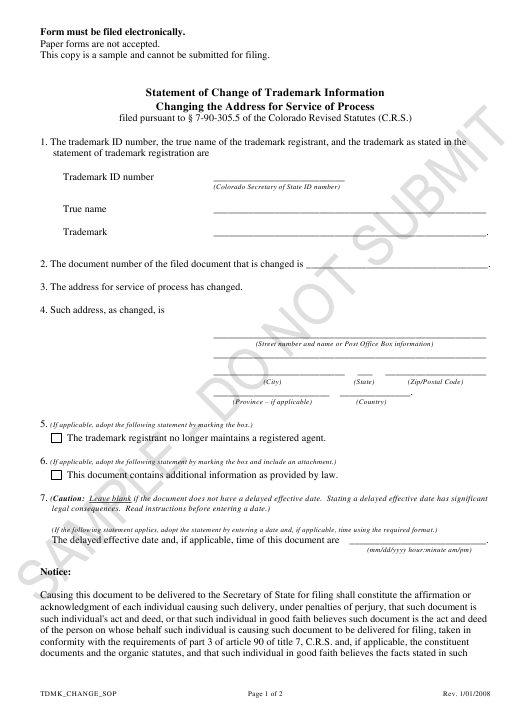 """Statement of Change of Trademark Information Changing the Address for Service of Process - Sample"" - Colorado Download Pdf"