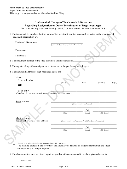 """Statement of Change of Trademark Information Regarding Resignation or Other Termination of Registered Agent - Sample"" - Colorado Download Pdf"