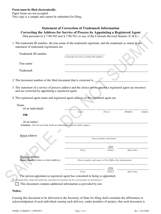 """Statement of Correction of Trademark Information Correcting the Address for Service of Process by Appointing a Registered Agent - Sample"" - Colorado Download Pdf"