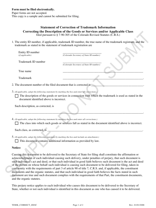 """""""Statement of Correction of Trademark Information Correcting the Description of the Goods or Services and/Or Applicable Class - Sample"""" - Colorado Download Pdf"""