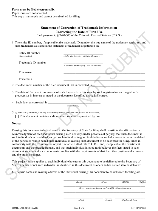 """Statement of Correction of Trademark Information Correcting the Date of First Use - Sample"" - Colorado Download Pdf"