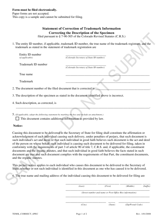 """Statement of Correction of Trademark Information Correcting the Description of the Specimen - Sample"" - Colorado Download Pdf"