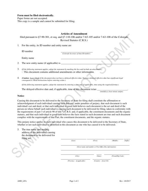 """Articles of Amendment - Limited Partnership Associations - Sample"" - Colorado Download Pdf"