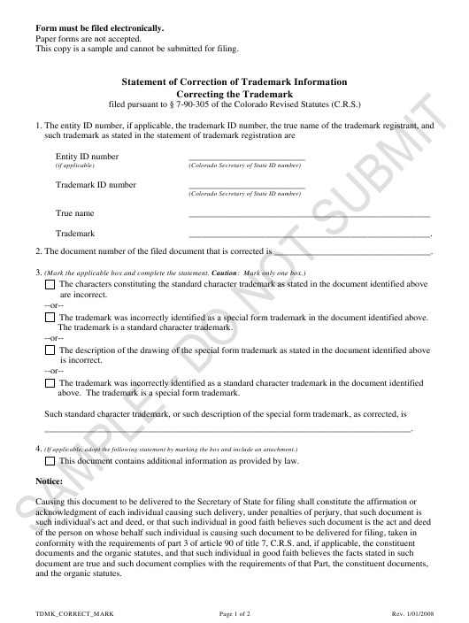 """Statement of Correction of Trademark Information Correcting the Trademark - Sample"" - Colorado Download Pdf"