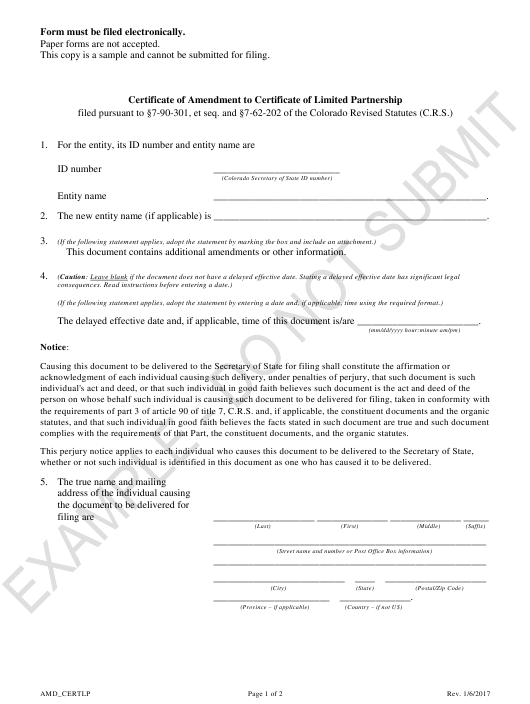 """Certificate of Amendment to Certificate of Limited Partnership - Sample"" - Colorado Download Pdf"