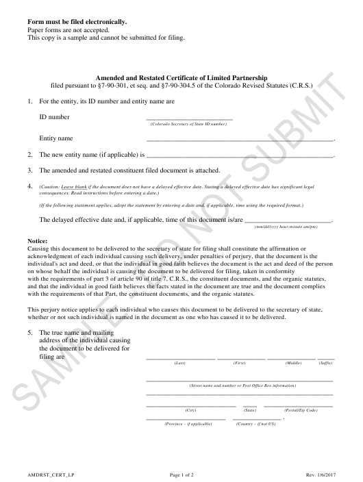 """Amended and Restated Certificate of Limited Partnership - Sample"" - Colorado Download Pdf"