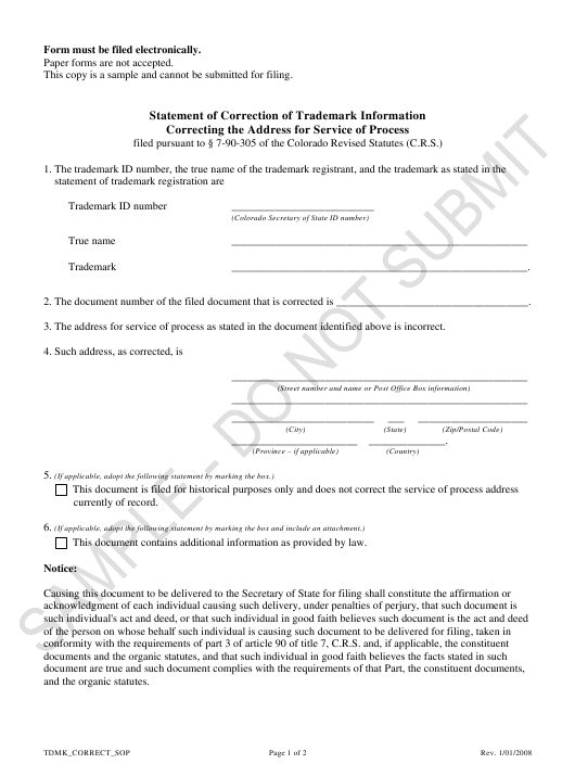 """""""Statement of Correction of Trademark Information Correcting the Address for Service of Process - Sample"""" - Colorado Download Pdf"""