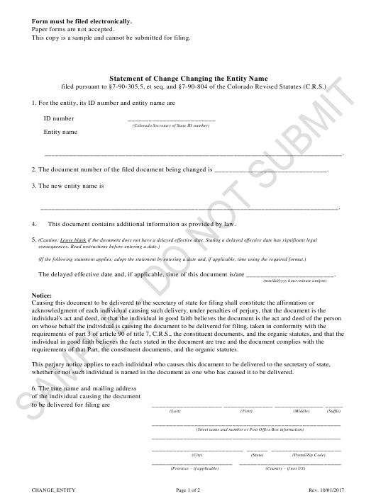 """Statement of Change Changing the Entity Name - Limited Liability Partnerships, Limited Liability Limited Partnerships - Sample"" - Colorado Download Pdf"