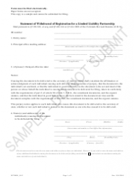 """Statement of Withdrawal of Registration for a Limited Liability Partnership - Sample"" - Colorado"