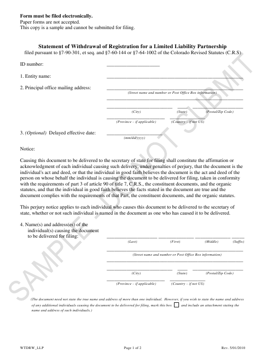 """Statement of Withdrawal of Registration for a Limited Liability Partnership - Sample"" - Colorado Download Pdf"