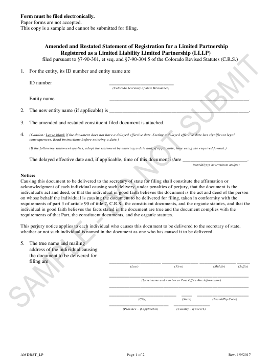 """Amended and Restated Statement of Registration for a Limited Partnership Registered as a Limited Liability Limited Partnership (Lllp) - Sample"" - Colorado Download Pdf"