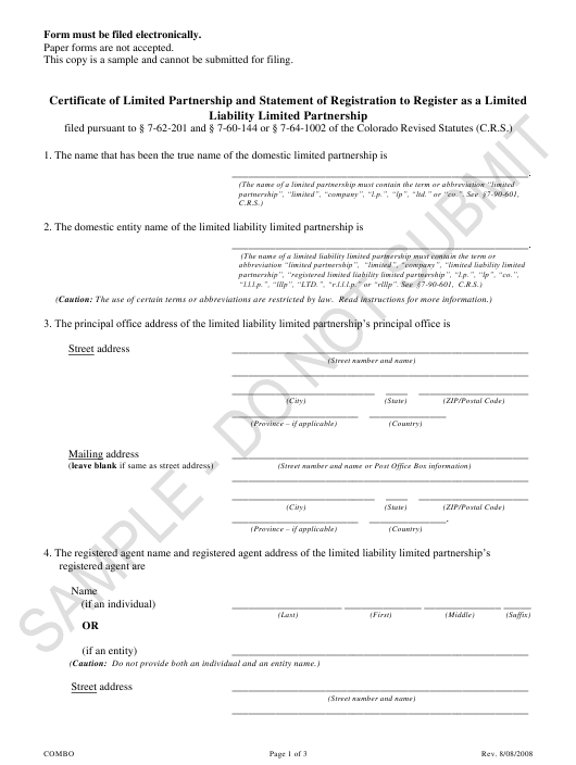 """Certificate of Limited Partnership and Statement of Registration to Register as a Limited Liability Limited Partnership - Sample"" - Colorado Download Pdf"