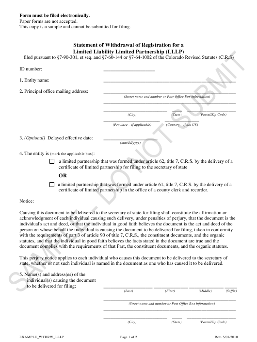 """Statement of Withdrawal of Registration for a Limited Liability Limited Partnership (Lllp) - Sample"" - Colorado Download Pdf"