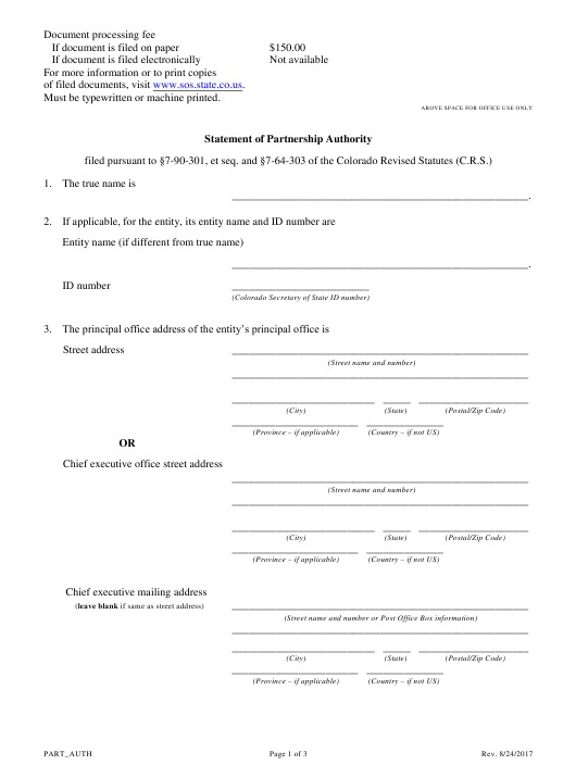 """Statement of Partnership Authority - Miscellaneous Partnerships"" - Colorado Download Pdf"