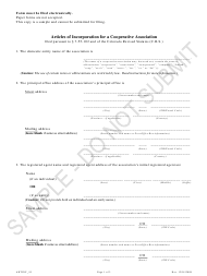 """""""Articles of Incorporation for a Cooperative Association - Article 55 Cooperative Associations - Sample"""" - Colorado"""