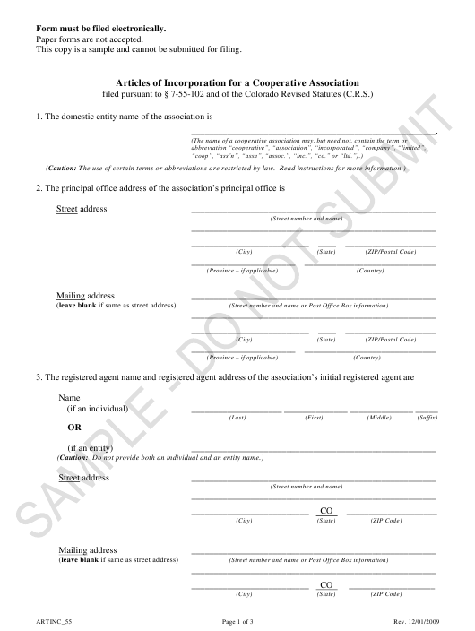"""Articles of Incorporation for a Cooperative Association - Article 55 Cooperative Associations - Sample"" - Colorado Download Pdf"