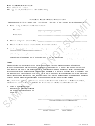 """""""Amended and Restated Articles of Incorporation - Article 55 Cooperative Associations - Sample"""" - Colorado"""