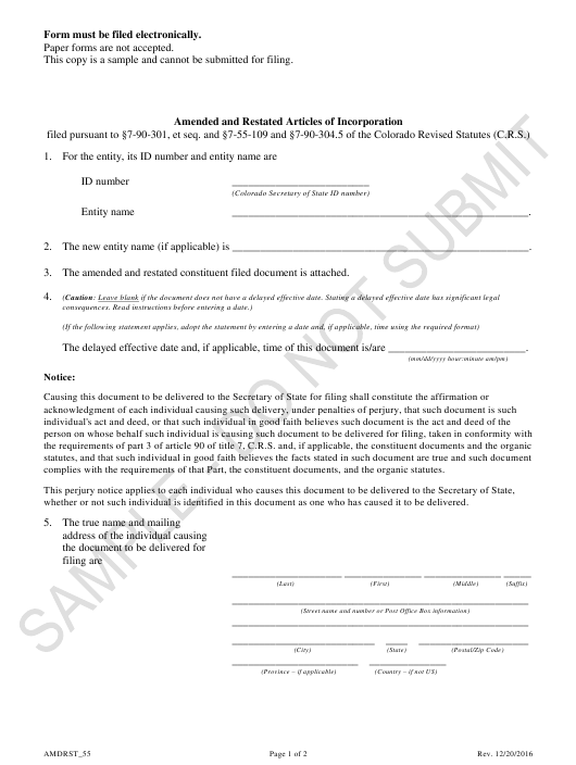 """Amended and Restated Articles of Incorporation - Article 55 Cooperative Associations - Sample"" - Colorado Download Pdf"