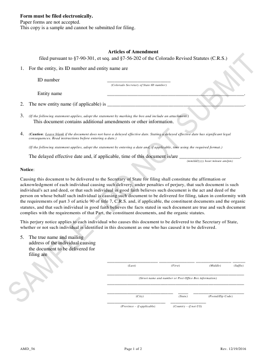 """Articles of Amendment - Article 56 Cooperatives - Sample"" - Colorado Download Pdf"