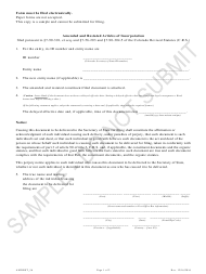 """""""Amended and Restated Articles of Incorporation - Article 56 Cooperatives - Sample"""" - Colorado"""