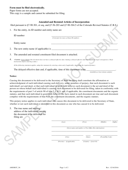 """Amended and Restated Articles of Incorporation - Article 56 Cooperatives - Sample"" - Colorado Download Pdf"