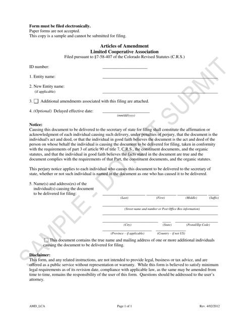 """Articles of Amendment - Limited Cooperative Association - Sample"" - Colorado Download Pdf"