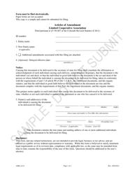 """Articles of Amendment - Limited Cooperative Association - Sample"" - Colorado"