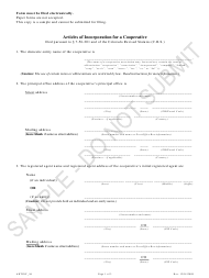 """""""Articles of Incorporation for a Cooperative - Article 56 Cooperatives - Sample"""" - Colorado"""