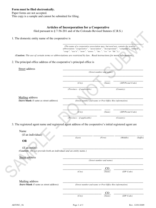"""Articles of Incorporation for a Cooperative - Article 56 Cooperatives - Sample"" - Colorado Download Pdf"