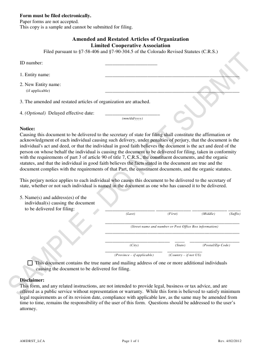 """Amended and Restated Articles of Organization - Limited Cooperative Association - Sample"" - Colorado Download Pdf"