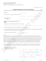 """""""Amended and Restated Articles of Incorporation - Public Benefit Corporations - Sample"""" - Colorado"""