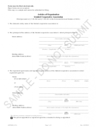 """""""Articles of Organization - Limited Cooperative Association - Sample"""" - Colorado"""