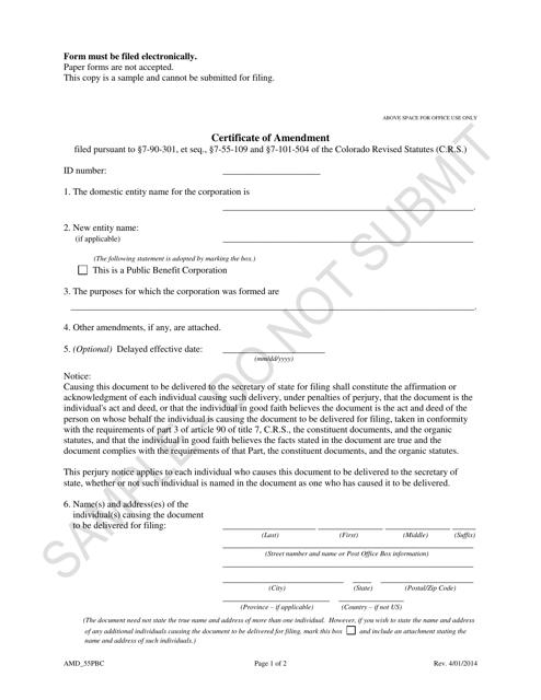 """Certificate of Amendment - Article 55 Cooperative Association as a Public Benefit Corporation - Sample"" - Colorado Download Pdf"