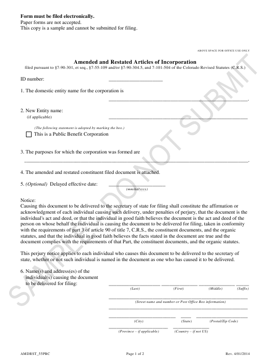 """Amended and Restated Articles of Incorporation - Article 55 Cooperative Association as a Public Benefit Corporation - Sample"" - Colorado Download Pdf"