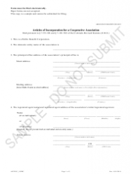 """""""Articles of Incorporation for a Cooperative Association - Article 55 Cooperative Association as a Public Benefit Corporation - Sample"""" - Colorado"""