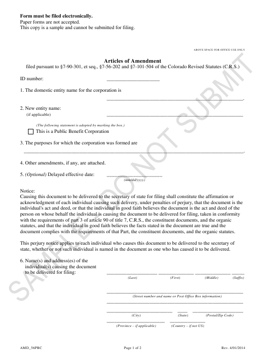 """Articles of Amendment - Article 56 Cooperative as a Public Benefit Corporation - Sample"" - Colorado Download Pdf"