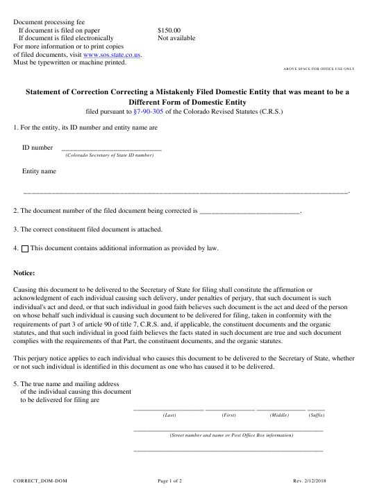 """Statement of Correction Correcting a Mistakenly Filed Domestic Entity That Was Meant to Be a Different Form of Domestic Entity - Article 56 Cooperatives"" - Colorado Download Pdf"