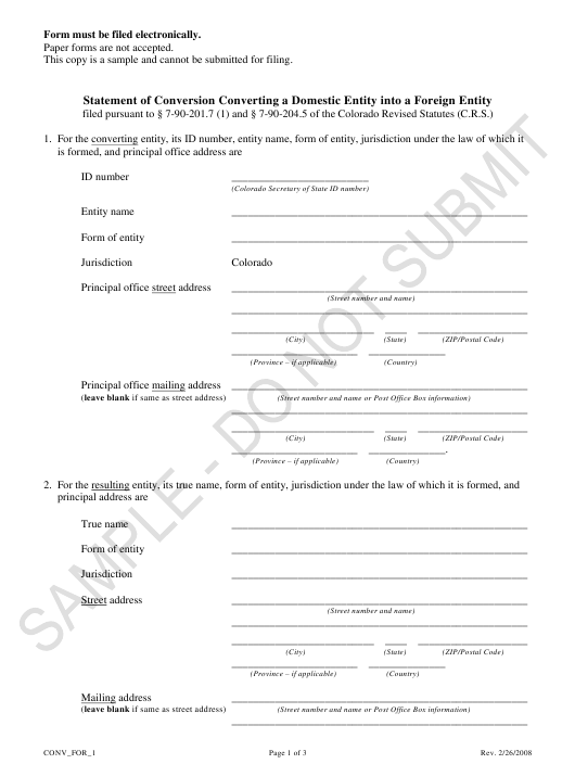 """""""Statement of Conversion Converting a Domestic Entity Into a Foreign Entity - Sample"""" - Colorado Download Pdf"""