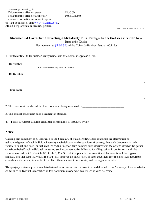 """Statement of Correction Correcting a Mistakenly Filed Foreign Entity That Was Meant to Be a Domestic Entity"" - Colorado Download Pdf"