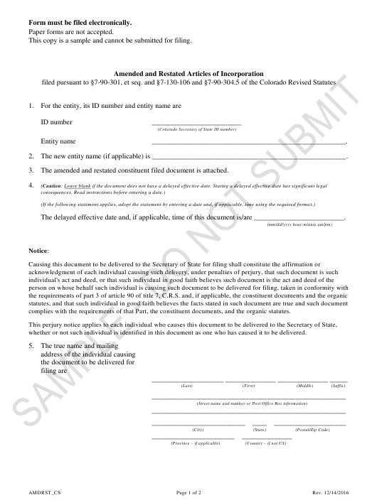 """""""Amended and Restated Articles of Incorporation - Corporation Sole"""" - Colorado Download Pdf"""