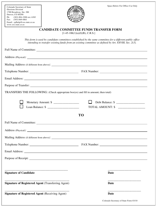 """""""Candidate Committee Funds Transfer Form"""" - Colorado Download Pdf"""