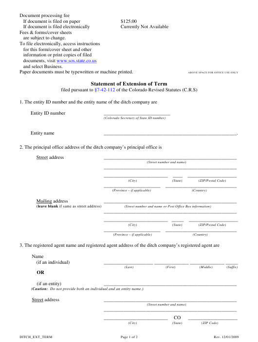 """Statement of Extension of Term"" - Colorado Download Pdf"