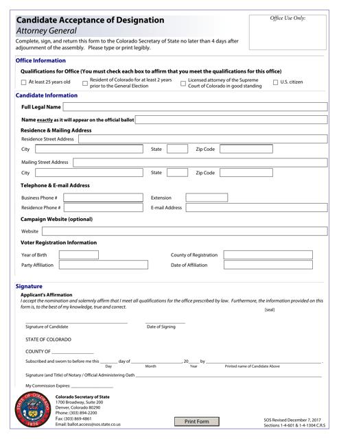 """Candidate Acceptance of Designation - Attorney General"" - Colorado Download Pdf"