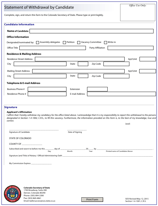 """""""Statement of Withdrawal by Candidate"""" - Colorado Download Pdf"""