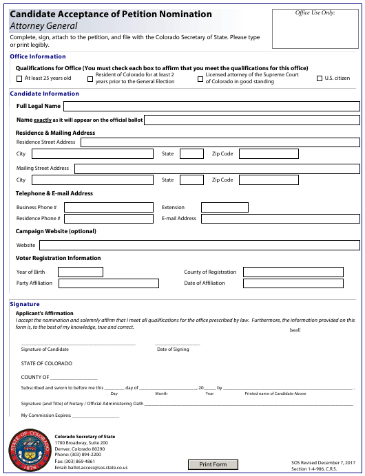 """Candidate Acceptance of Petition Nomination - Attorney General"" - Colorado Download Pdf"